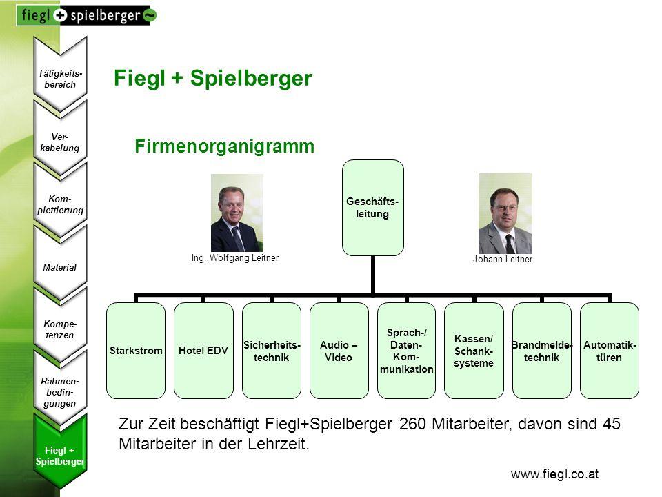 www.fiegl.co.at Fiegl + Spielberger Firmenorganigramm Ing. Wolfgang Leitner Johann Leitner Zur Zeit beschäftigt Fiegl+Spielberger 260 Mitarbeiter, dav