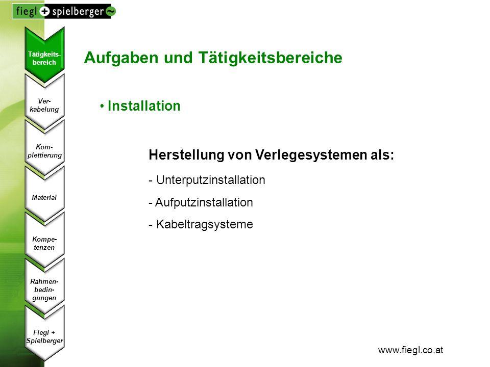 www.fiegl.co.at Aufgaben und Tätigkeitsbereiche Installation Herstellung von Verlegesystemen als: - Unterputzinstallation - Aufputzinstallation - Kabe