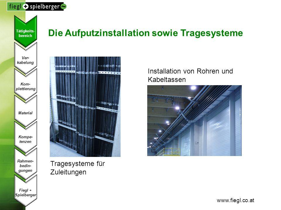 www.fiegl.co.at Die Aufputzinstallation sowie Tragesysteme Tragesysteme für Zuleitungen Installation von Rohren und Kabeltassen Ver- kabelung Kom- ple