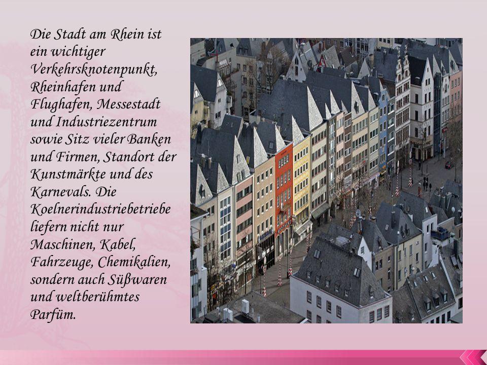Die Stadt am Rhein ist ein wichtiger Verkehrsknotenpunkt, Rheinhafen und Flughafen, Messestadt und Industriezentrum sowie Sitz vieler Banken und Firme