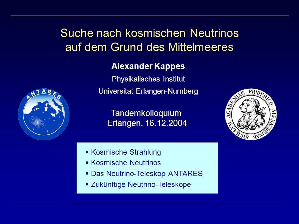 Suche nach kosmischen Neutrinos auf dem Grund des Mittelmeeres Alexander Kappes Physikalisches Institut Universität Erlangen-Nürnberg Kosmische Strahl