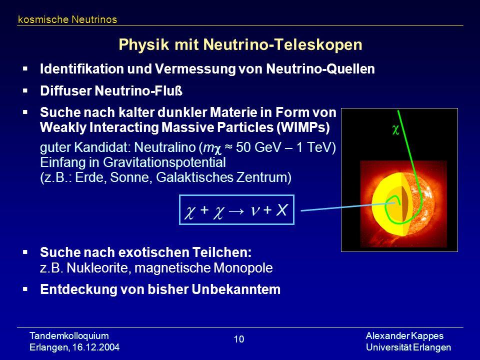 Tandemkolloquium Erlangen, 16.12.2004 Alexander Kappes Universität Erlangen 10 Physik mit Neutrino-Teleskopen Identifikation und Vermessung von Neutri