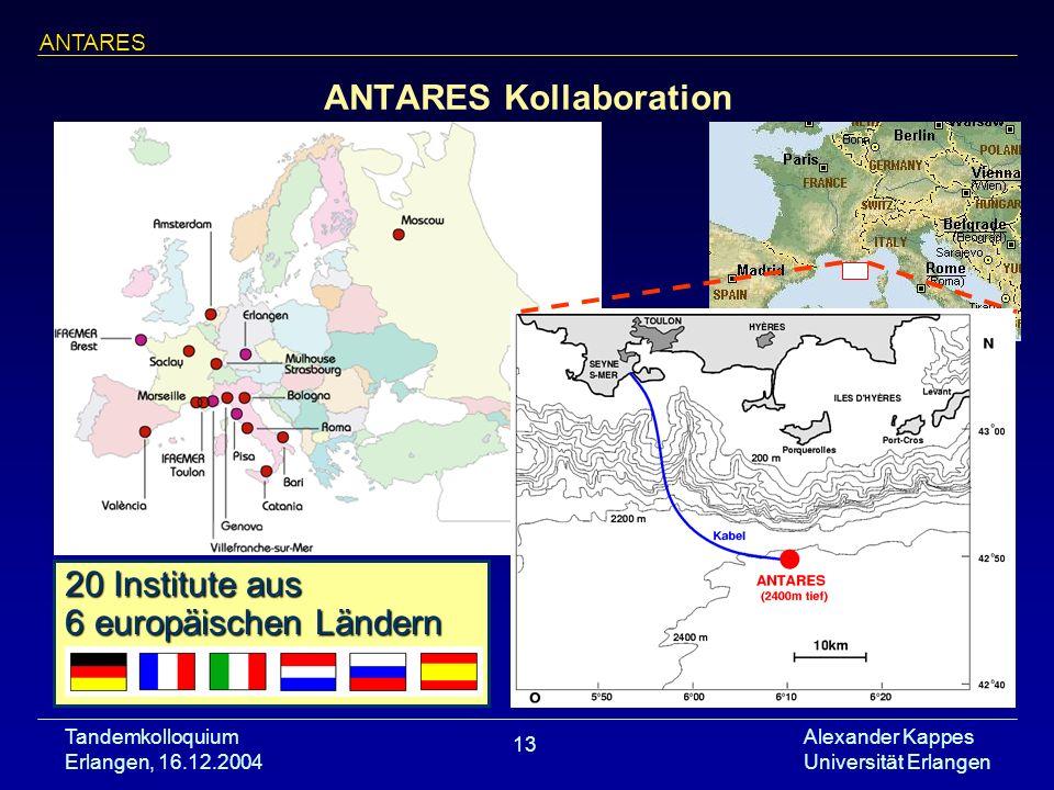 Tandemkolloquium Erlangen, 16.12.2004 Alexander Kappes Universität Erlangen 13 20 Institute aus 6 europäischen Ländern ANTARES Kollaboration ANTARES