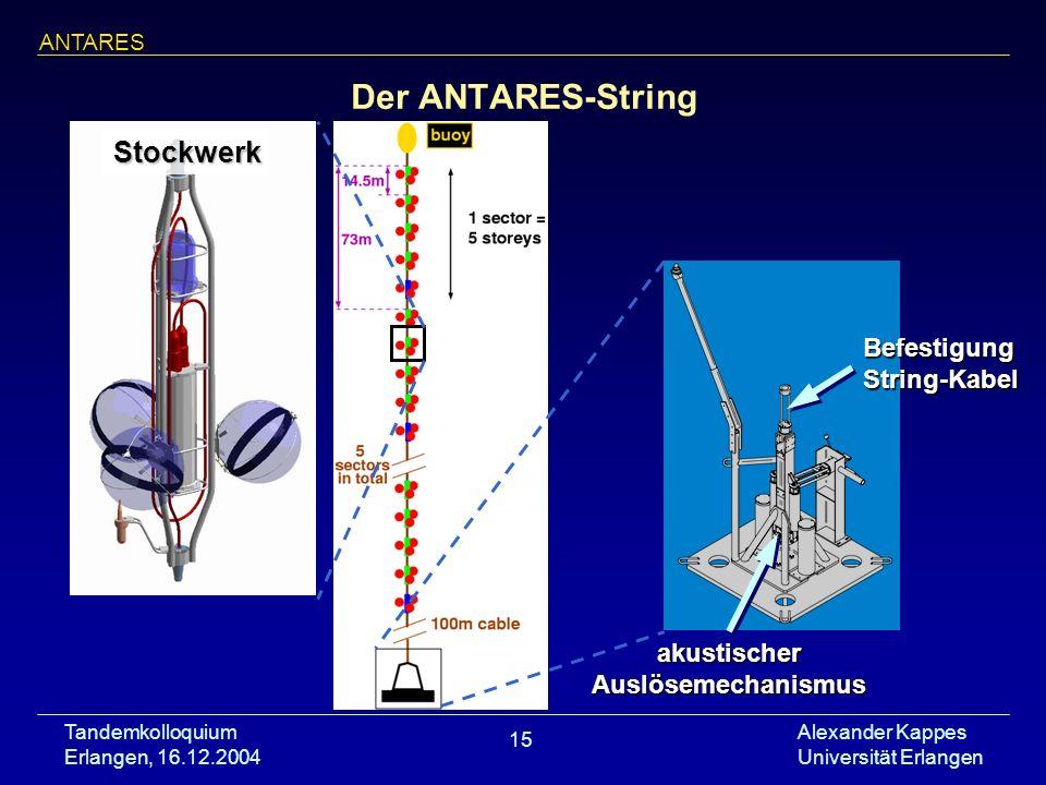 Tandemkolloquium Erlangen, 16.12.2004 Alexander Kappes Universität Erlangen 15 Der ANTARES-String ANTARES akustischer Auslösemechanismus Stockwerk Bef