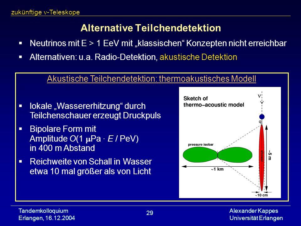 Tandemkolloquium Erlangen, 16.12.2004 Alexander Kappes Universität Erlangen 29 Alternative Teilchendetektion Neutrinos mit E > 1 EeV mit klassischen K
