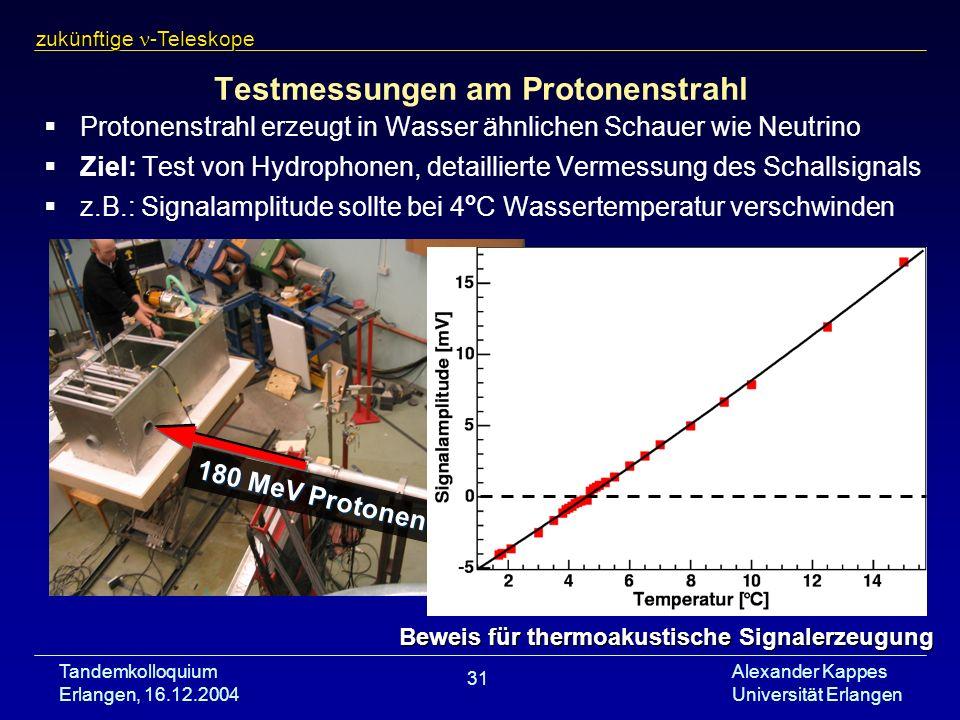 Tandemkolloquium Erlangen, 16.12.2004 Alexander Kappes Universität Erlangen 31 Testmessungen am Protonenstrahl Protonenstrahl erzeugt in Wasser ähnlic