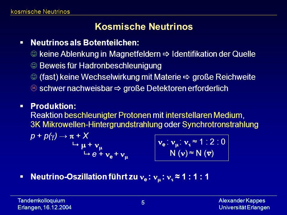 Tandemkolloquium Erlangen, 16.12.2004 Alexander Kappes Universität Erlangen 5 Kosmische Neutrinos Neutrinos als Botenteilchen: keine Ablenkung in Magn