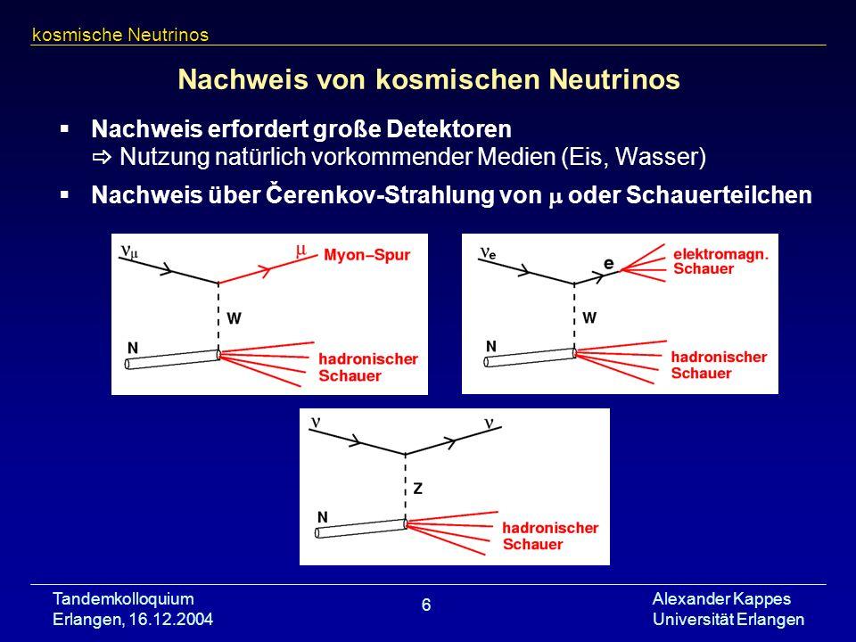 Tandemkolloquium Erlangen, 16.12.2004 Alexander Kappes Universität Erlangen 6 Nachweis von kosmischen Neutrinos Nachweis erfordert große Detektoren Nu
