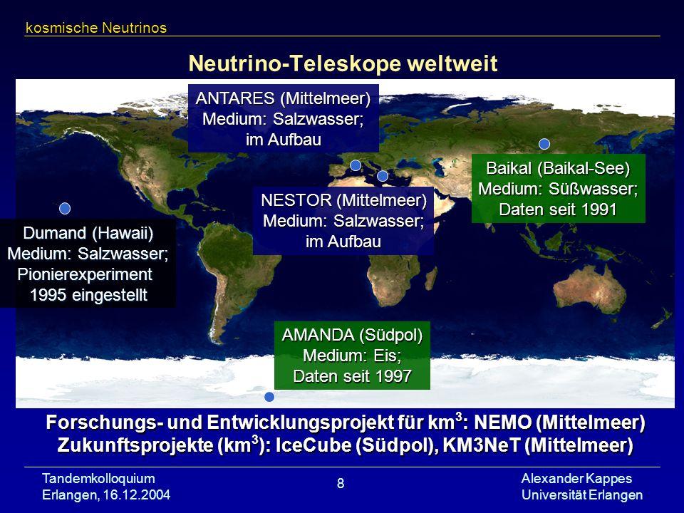 Tandemkolloquium Erlangen, 16.12.2004 Alexander Kappes Universität Erlangen 8 Neutrino-Teleskope weltweit kosmische Neutrinos AMANDA (Südpol) Medium: