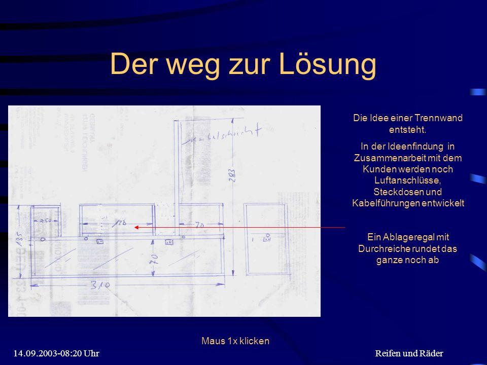 14.09.2003-08:20 UhrReifen und Räder Der weg zur Lösung Die Idee einer Trennwand entsteht.