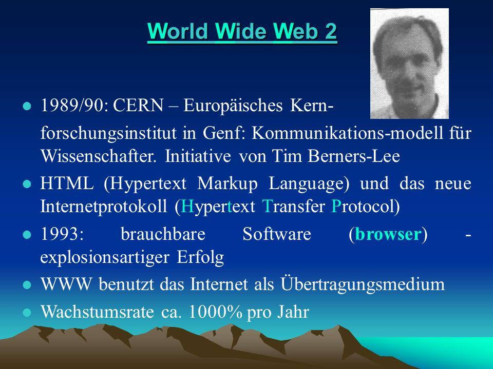 World Wide Web 2 World Wide Web 2 l 1989/90: CERN – Europäisches Kern- forschungsinstitut in Genf: Kommunikations-modell für Wissenschafter. Initiativ