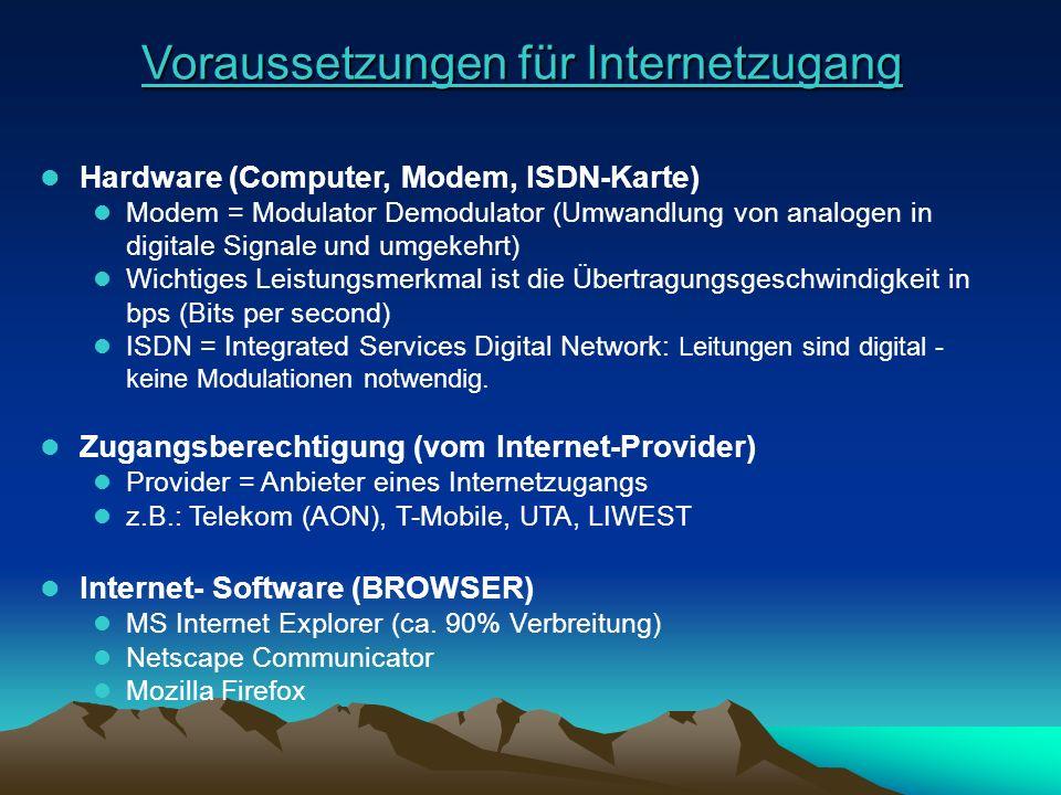 Voraussetzungen für Internetzugang Voraussetzungen für Internetzugang l Hardware (Computer, Modem, ISDN-Karte) Hardware (Computer, Modem, ISDN-Karte)