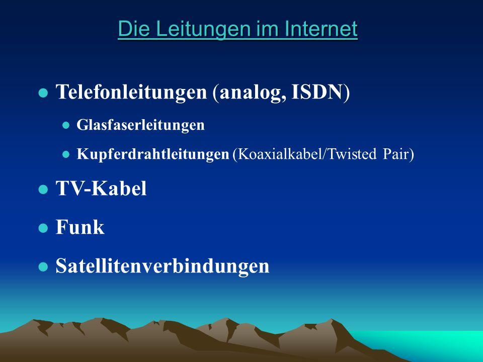Die Leitungen im Internet Die Leitungen im Internet l Telefonleitungen (analog, ISDN) l Glasfaserleitungen l Kupferdrahtleitungen (Koaxialkabel/Twiste