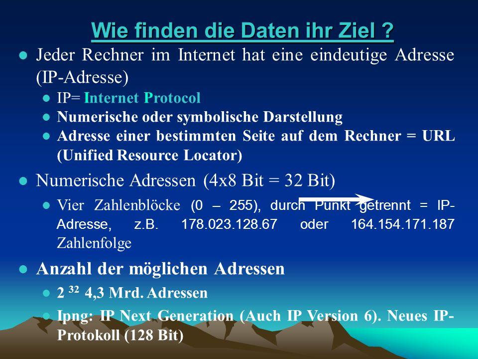 Wie finden die Daten ihr Ziel ? Wie finden die Daten ihr Ziel ? l Jeder Rechner im Internet hat eine eindeutige Adresse (IP-Adresse) Jeder Rechner im