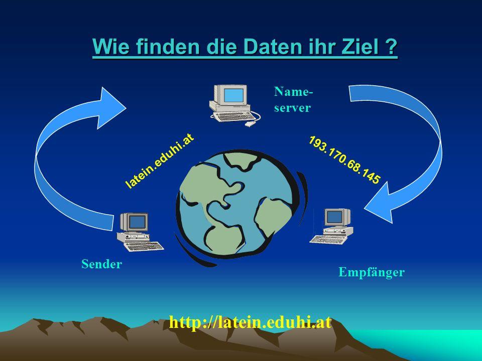 Wie finden die Daten ihr Ziel ? Wie finden die Daten ihr Ziel ? http://latein.eduhi.at 193.170.68.145 Name- server Sender Empfänger latein.eduhi.at