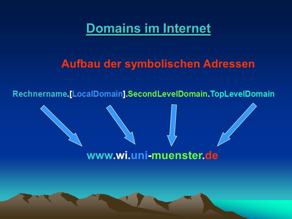 Domains im Internet Domains im Internet Aufbau der symbolischen Adressen Rechnername.[LocalDomain].SecondLevelDomain.TopLevelDomain www.wi.uni-muenste