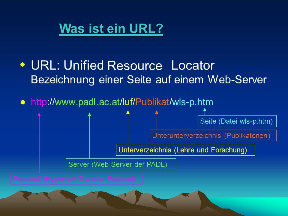 Was ist ein URL? l URL:Unified Resource Locator Bezeichnung einer Seite auf einem Web-Server l http://www.padl.ac.at/luf/Publikat/wls-p.htm Unterunter