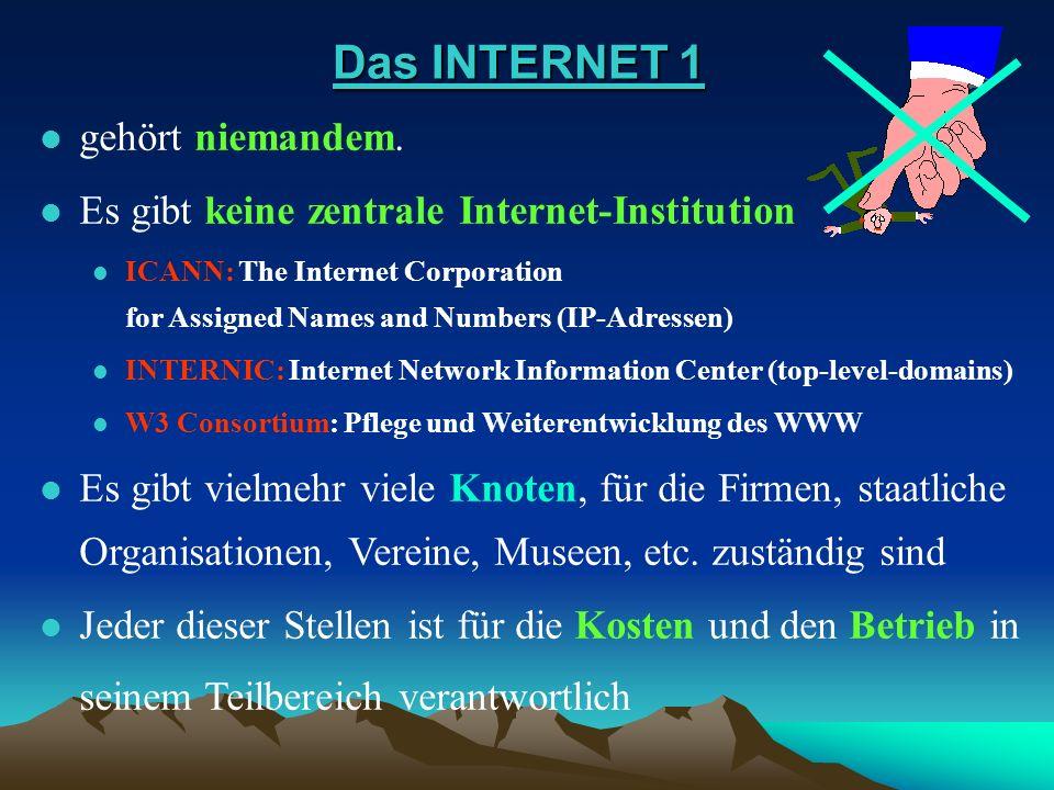 Das INTERNET 1 Das INTERNET 1 l gehört niemandem. gehört niemandem. l Es gibt keine zentrale Internet-Institution Es gibt keine zentrale Internet-Inst