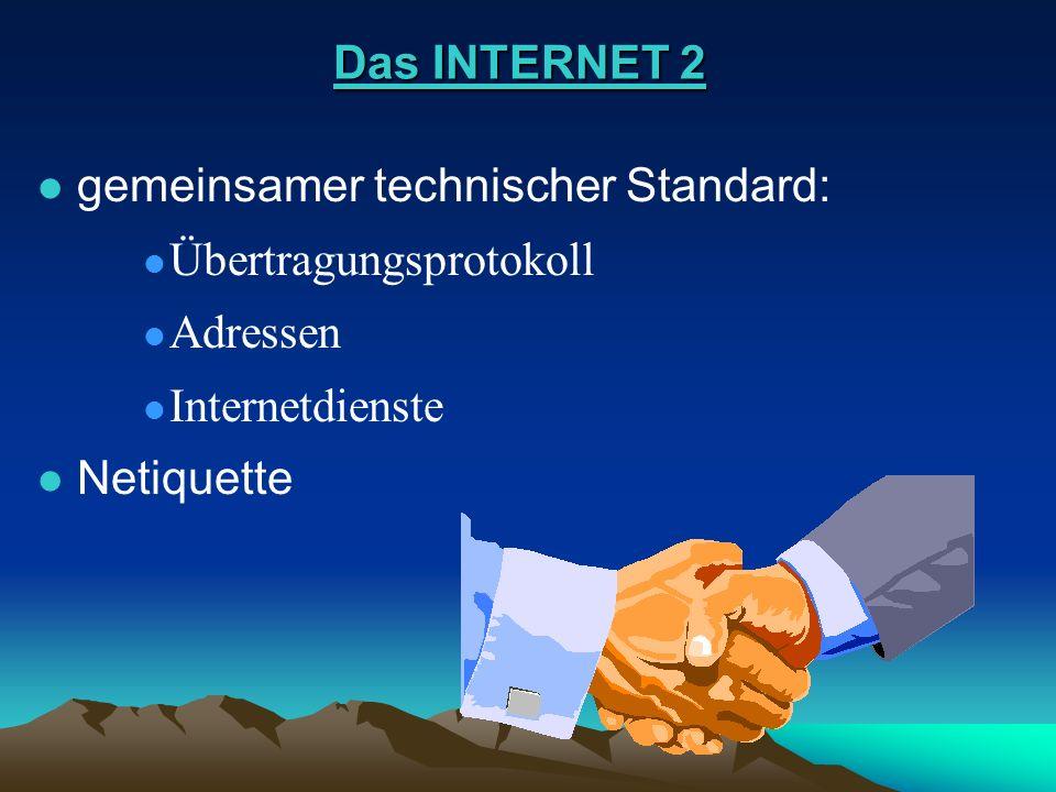 Das INTERNET 2 Das INTERNET 2 l gemeinsamer technischer Standard: gemeinsamer technischer Standard: l Übertragungsprotokoll Übertragungsprotokoll l Ad