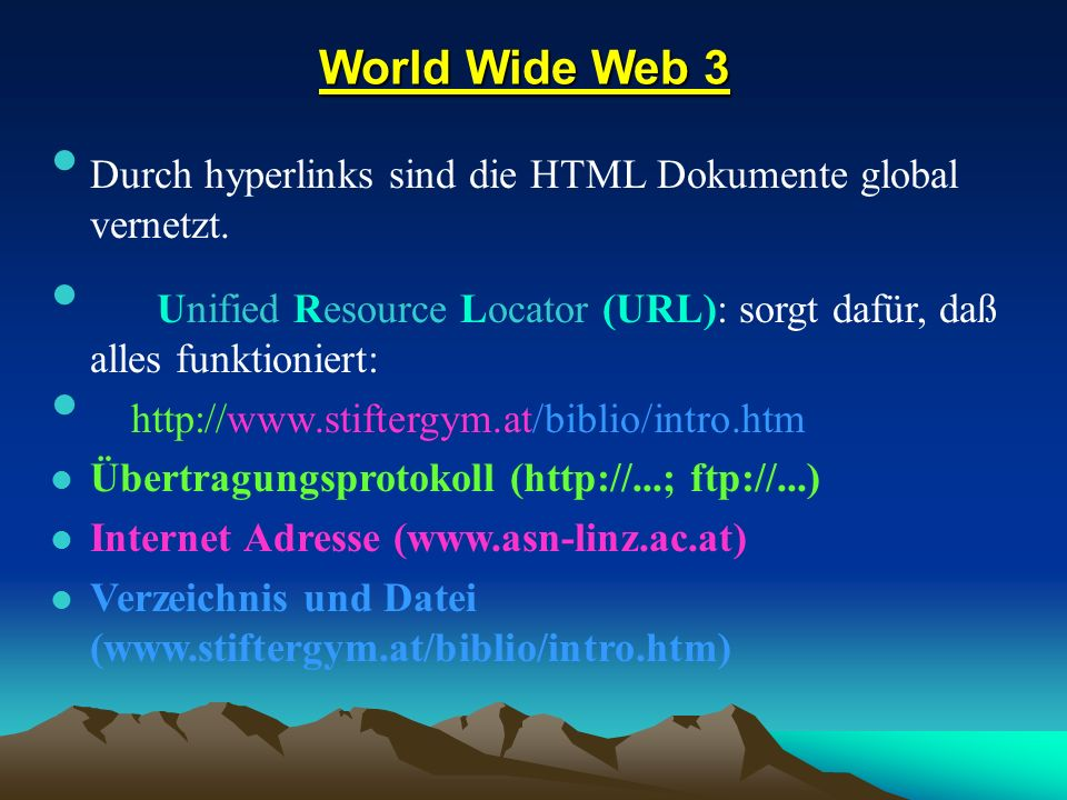World Wide Web 3 World Wide Web 3 Durch hyperlinks sind die HTML Dokumente global vernetzt. Durch hyperlinks sind die HTML Dokumente global vernetzt.
