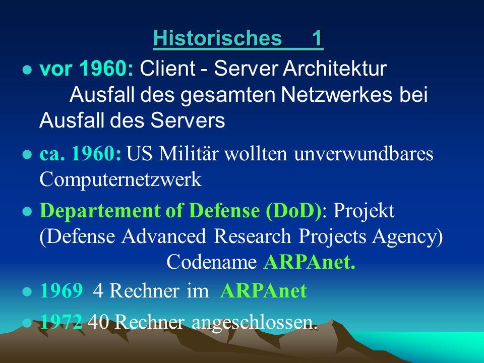 l vor 1960: Client - Server Architektur Ausfall des gesamten Netzwerkes bei Ausfall des Servers vor 1960: Client - Server Architektur Ausfall des gesa