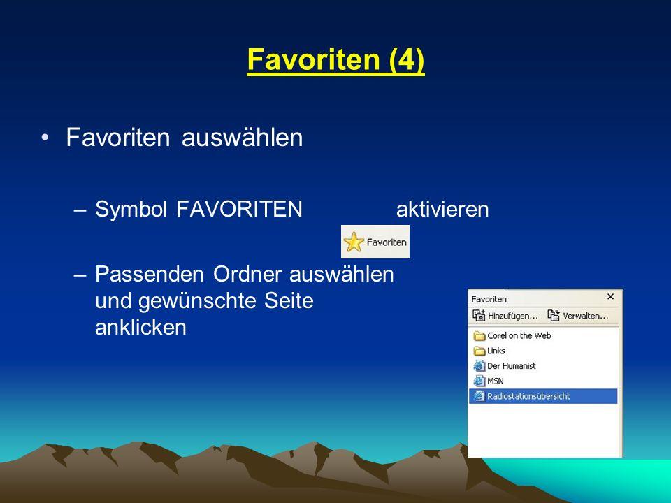 Favoriten (4) Favoriten auswählen –Symbol FAVORITEN aktivieren –Passenden Ordner auswählen und gewünschte Seite anklicken