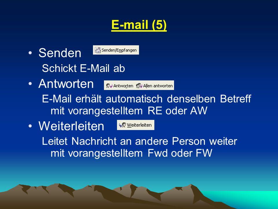 E-mail (5) Senden Schickt E-Mail ab Antworten E-Mail erhält automatisch denselben Betreff mit vorangestelltem RE oder AW Weiterleiten Leitet Nachricht