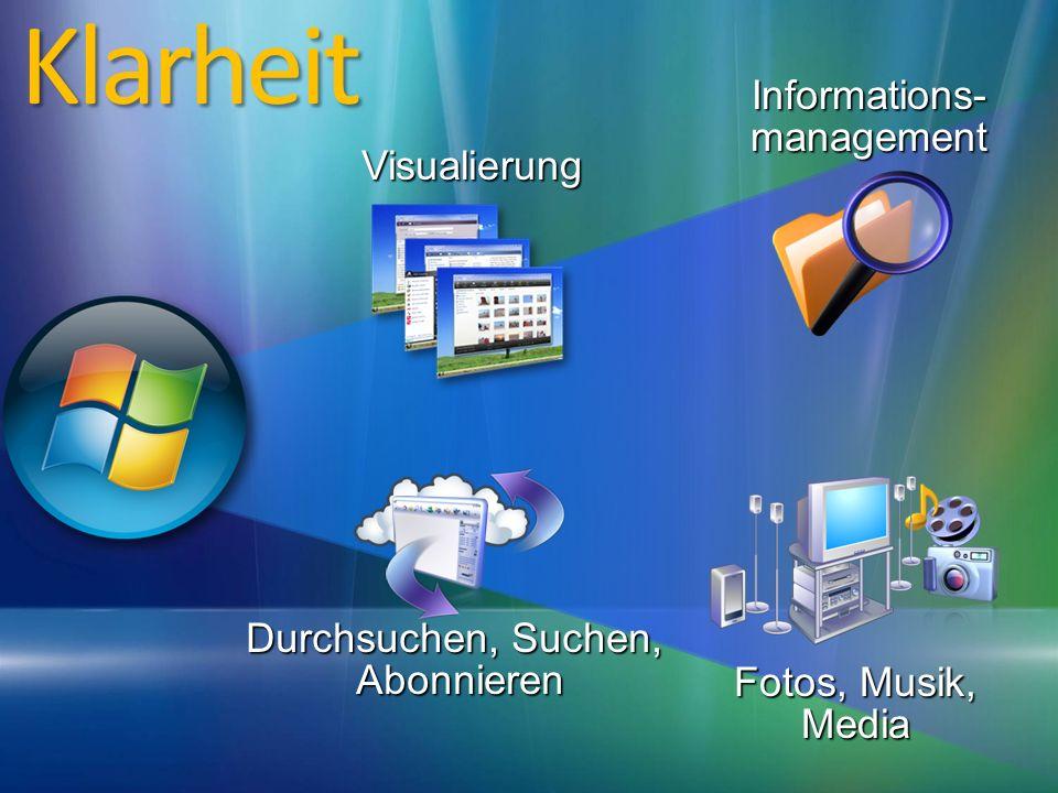 Durchsuchen, Suchen, Abonnieren Fotos, Musik, Media Informations- management VisualierungKlarheit