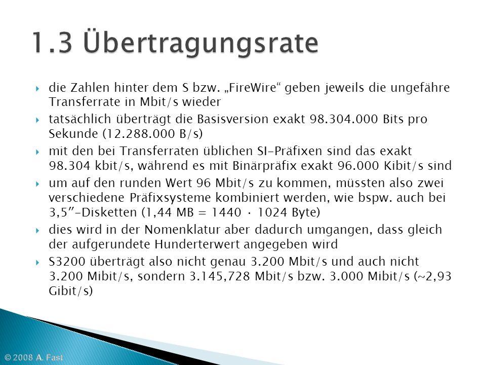 die Zahlen hinter dem S bzw. FireWire geben jeweils die ungefähre Transferrate in Mbit/s wieder tatsächlich überträgt die Basisversion exakt 98.304.00