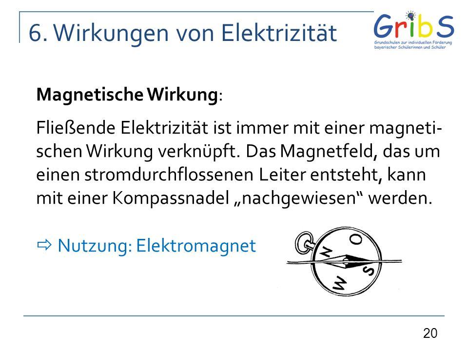 20 6. Wirkungen von Elektrizität Magnetische Wirkung: Fließende Elektrizität ist immer mit einer magneti- schen Wirkung verknüpft. Das Magnetfeld, das