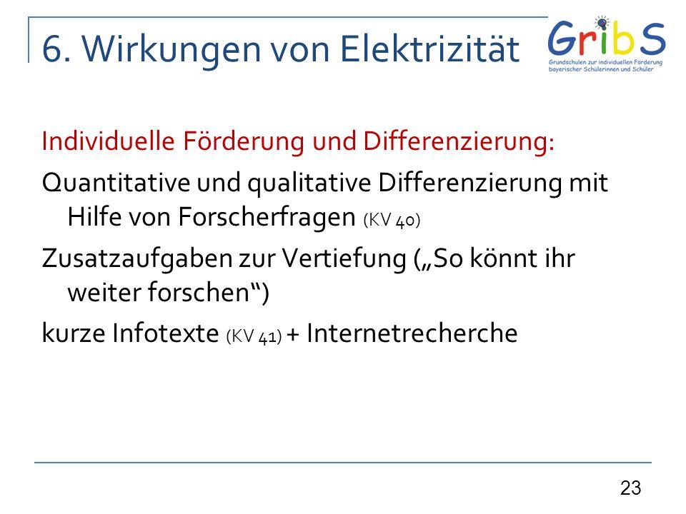 23 6. Wirkungen von Elektrizität Individuelle Förderung und Differenzierung: Quantitative und qualitative Differenzierung mit Hilfe von Forscherfragen