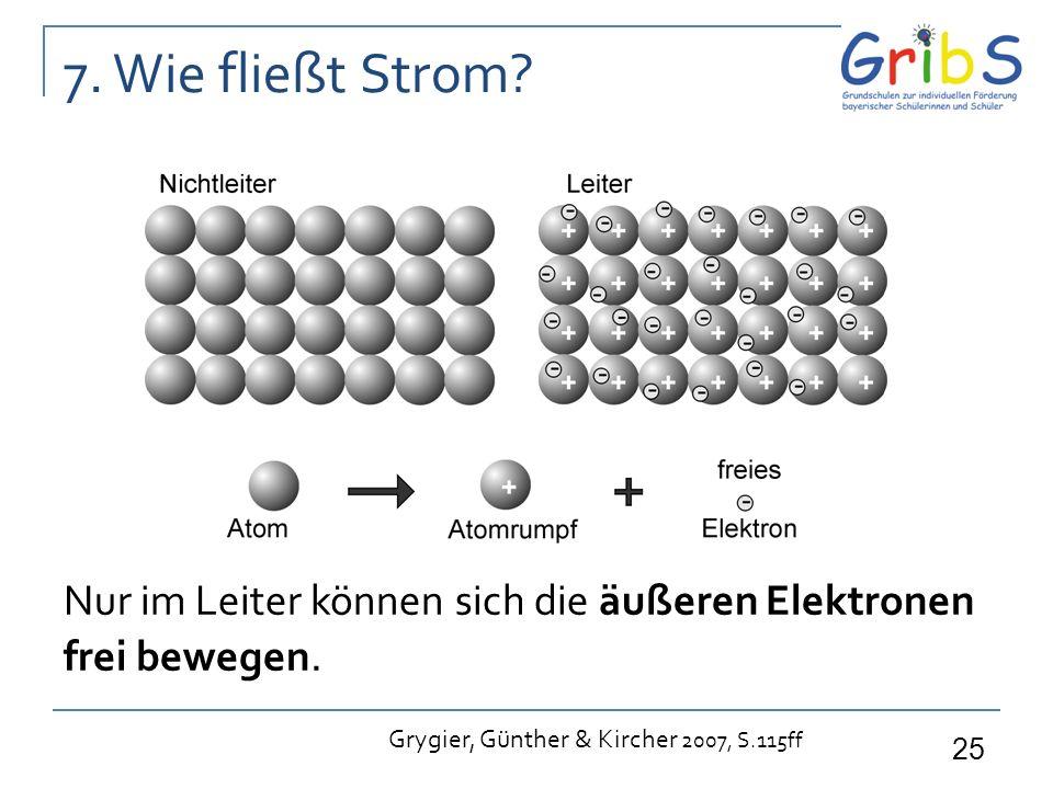 25 7. Wie fließt Strom? Nur im Leiter können sich die äußeren Elektronen frei bewegen. Grygier, Günther & Kircher 2007, S.115ff