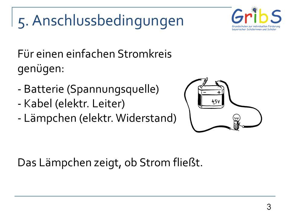 3 5. Anschlussbedingungen Für einen einfachen Stromkreis genügen: - Batterie (Spannungsquelle) - Kabel (elektr. Leiter) - Lämpchen (elektr. Widerstand