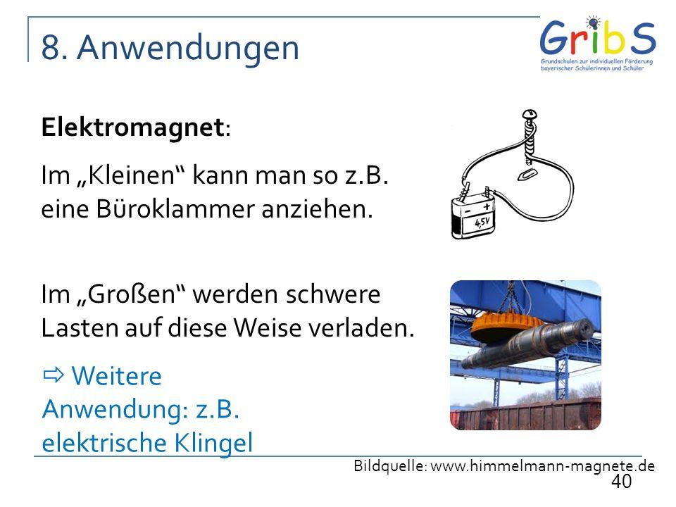 40 Elektromagnet: Im Kleinen kann man so z.B. eine Büroklammer anziehen. Im Großen werden schwere Lasten auf diese Weise verladen. 8. Anwendungen Bild