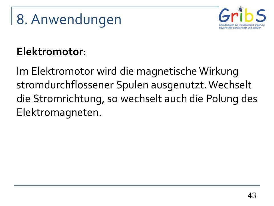 43 Elektromotor: Im Elektromotor wird die magnetische Wirkung stromdurchflossener Spulen ausgenutzt. Wechselt die Stromrichtung, so wechselt auch die