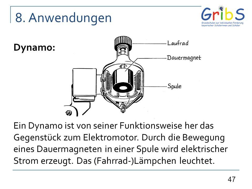 47 Dynamo: Ein Dynamo ist von seiner Funktionsweise her das Gegenstück zum Elektromotor. Durch die Bewegung eines Dauermagneten in einer Spule wird el