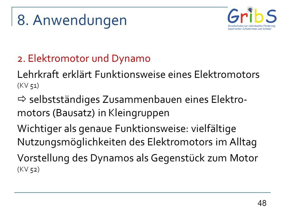 48 8. Anwendungen 2. Elektromotor und Dynamo Lehrkraft erklärt Funktionsweise eines Elektromotors (KV 51) selbstständiges Zusammenbauen eines Elektro-