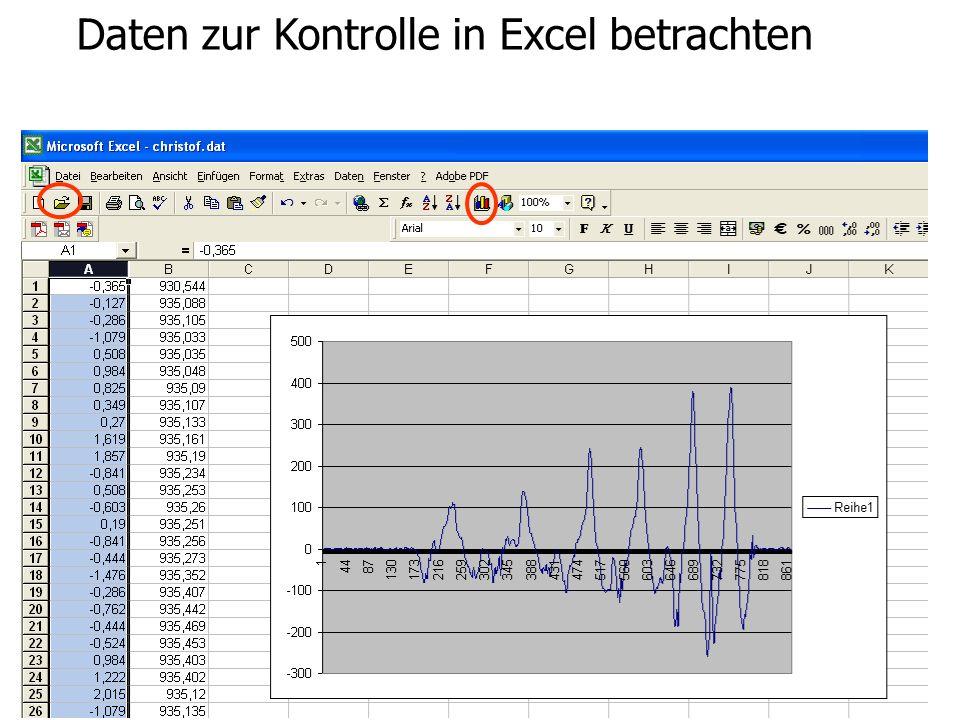Bewegungs- und Krafterfassung in Echtzeit Daten zur Kontrolle in Excel betrachten Daten betrachten