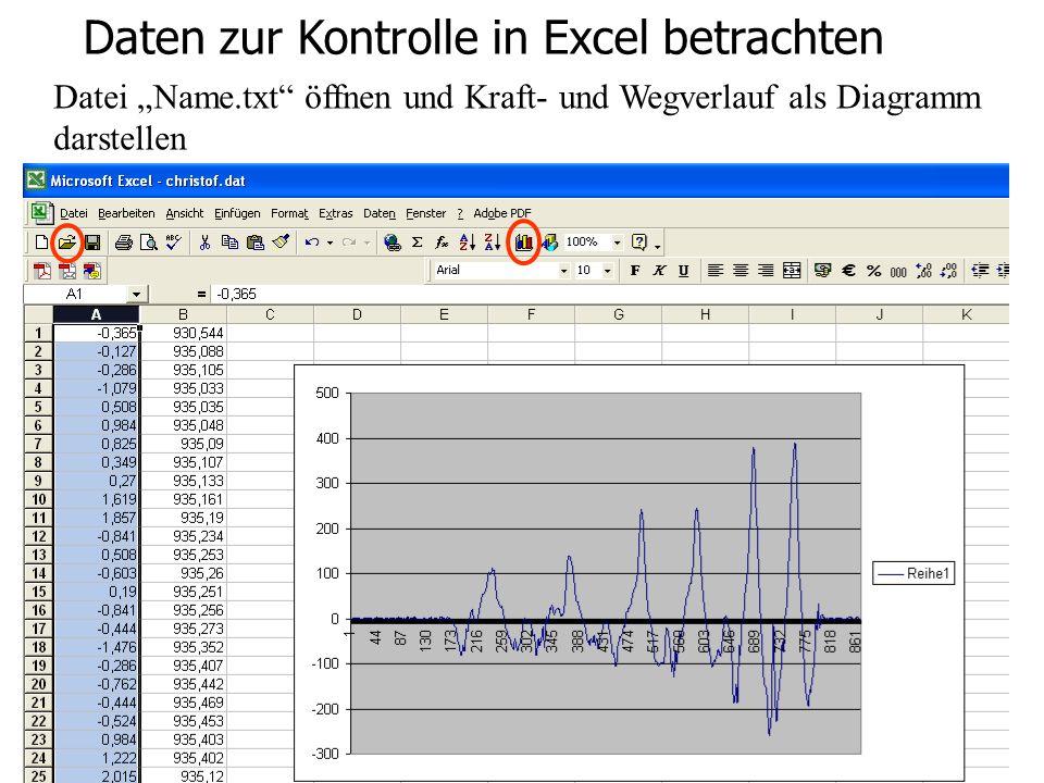 Bewegungs- und Krafterfassung in Echtzeit Daten zur Kontrolle in Excel betrachten Daten betrachten Datei Name.txt öffnen und Kraft- und Wegverlauf als Diagramm darstellen