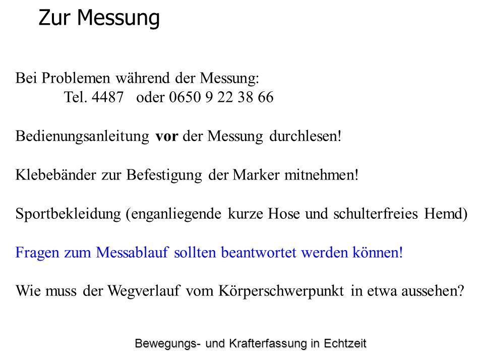 Bewegungs- und Krafterfassung in Echtzeit Zur Messung Bei Problemen während der Messung: Tel.