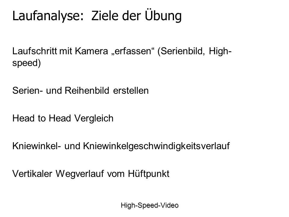 High-Speed-Video Laufschritt mit Kamera erfassen (Serienbild, High- speed) Serien- und Reihenbild erstellen Head to Head Vergleich Kniewinkel- und Kniewinkelgeschwindigkeitsverlauf Vertikaler Wegverlauf vom Hüftpunkt Laufanalyse: Ziele der Übung