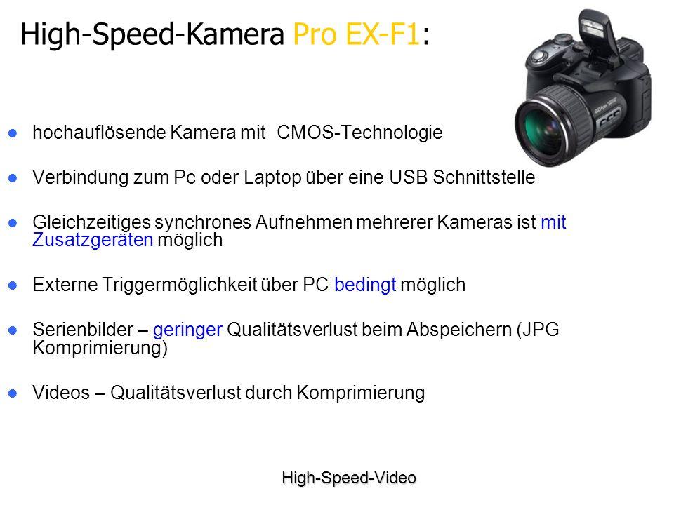 High-Speed-Video High-Speed-Kamera Pro EX-F1: hochauflösende Kamera mit CMOS-Technologie Verbindung zum Pc oder Laptop über eine USB Schnittstelle Gleichzeitiges synchrones Aufnehmen mehrerer Kameras ist mit Zusatzgeräten möglich Externe Triggermöglichkeit über PC bedingt möglich Serienbilder – geringer Qualitätsverlust beim Abspeichern (JPG Komprimierung) Videos – Qualitätsverlust durch Komprimierung