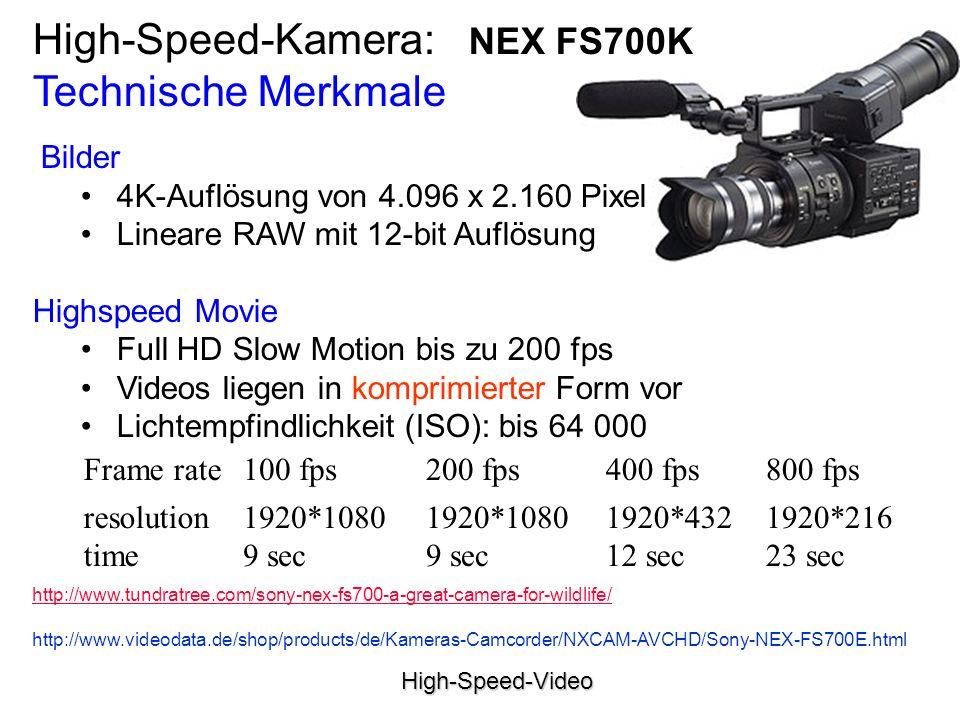 High-Speed-Video Bilder 4K-Auflösung von 4.096 x 2.160 Pixel Lineare RAW mit 12-bit Auflösung Highspeed Movie Full HD Slow Motion bis zu 200 fps Videos liegen in komprimierter Form vor Lichtempfindlichkeit (ISO): bis 64 000 High-Speed-Kamera: NEX FS700K Technische Merkmale Frame rate100 fps200 fps400 fps800 fps resolution time 1920*1080 9 sec 1920*432 12 sec 1920*216 23 sec http://www.tundratree.com/sony-nex-fs700-a-great-camera-for-wildlife/ http://www.videodata.de/shop/products/de/Kameras-Camcorder/NXCAM-AVCHD/Sony-NEX-FS700E.html