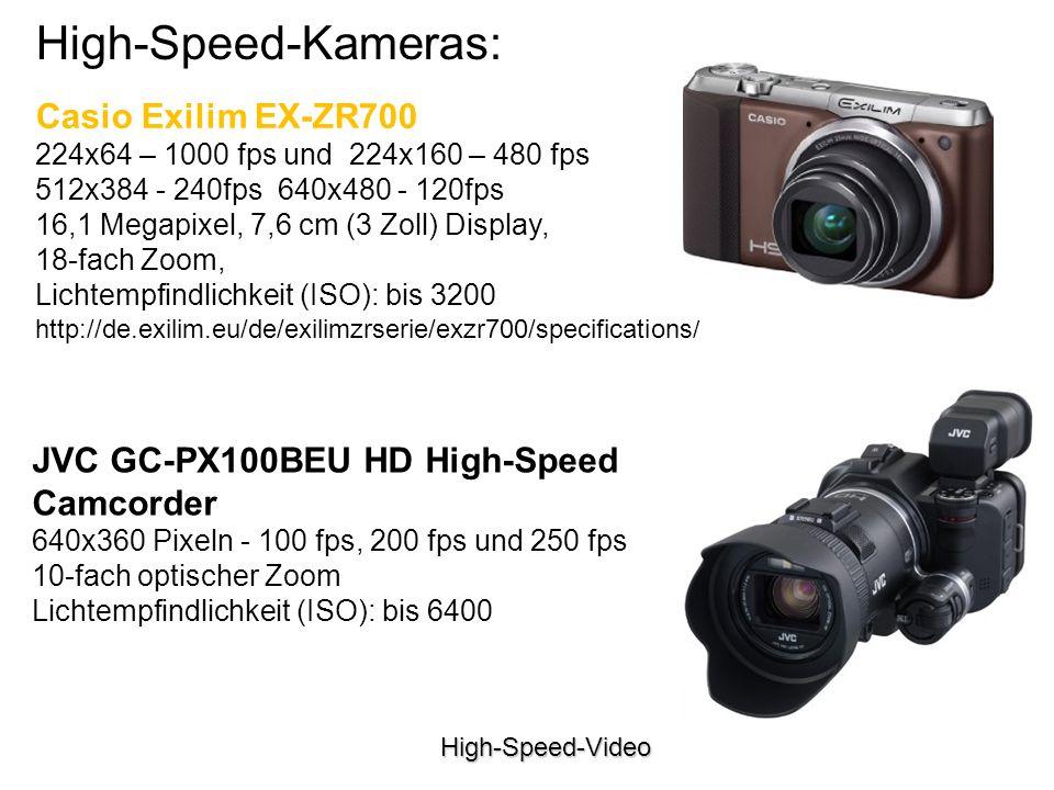 High-Speed-Video High-Speed-Kameras: Casio Exilim EX-ZR700 224x64 – 1000 fps und 224x160 – 480 fps 512x384 - 240fps 640x480 - 120fps 16,1 Megapixel, 7,6 cm (3 Zoll) Display, 18-fach Zoom, Lichtempfindlichkeit (ISO): bis 3200 http://de.exilim.eu/de/exilimzrserie/exzr700/specifications/ JVC GC-PX100BEU HD High-Speed Camcorder 640x360 Pixeln - 100 fps, 200 fps und 250 fps 10-fach optischer Zoom Lichtempfindlichkeit (ISO): bis 6400