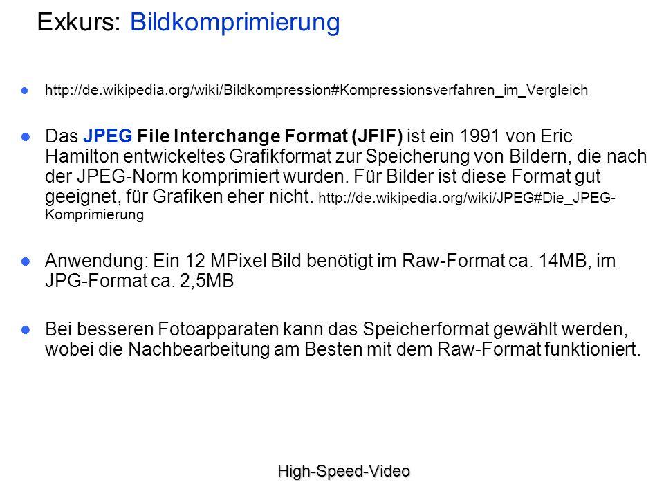 High-Speed-Video Exkurs: Bildkomprimierung http://de.wikipedia.org/wiki/Bildkompression#Kompressionsverfahren_im_Vergleich Das JPEG File Interchange Format (JFIF) ist ein 1991 von Eric Hamilton entwickeltes Grafikformat zur Speicherung von Bildern, die nach der JPEG-Norm komprimiert wurden.