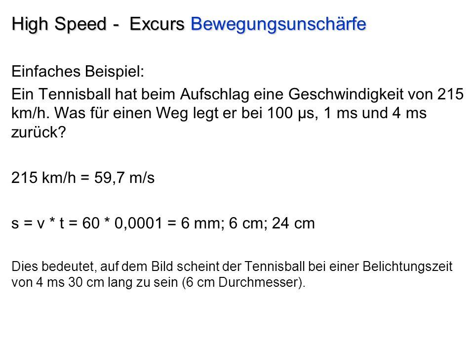 High Speed - Excurs Bewegungsunschärfe Einfaches Beispiel: Ein Tennisball hat beim Aufschlag eine Geschwindigkeit von 215 km/h.