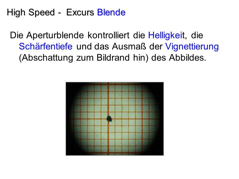 High Speed - Excurs Blende Die Aperturblende kontrolliert die Helligkeit, die Schärfentiefe und das Ausmaß der Vignettierung (Abschattung zum Bildrand hin) des Abbildes.