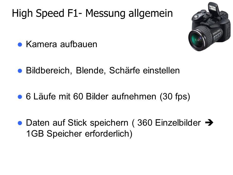 Kamera aufbauen Bildbereich, Blende, Schärfe einstellen 6 Läufe mit 60 Bilder aufnehmen (30 fps) Daten auf Stick speichern ( 360 Einzelbilder 1GB Speicher erforderlich) High Speed F1- Messung allgemein