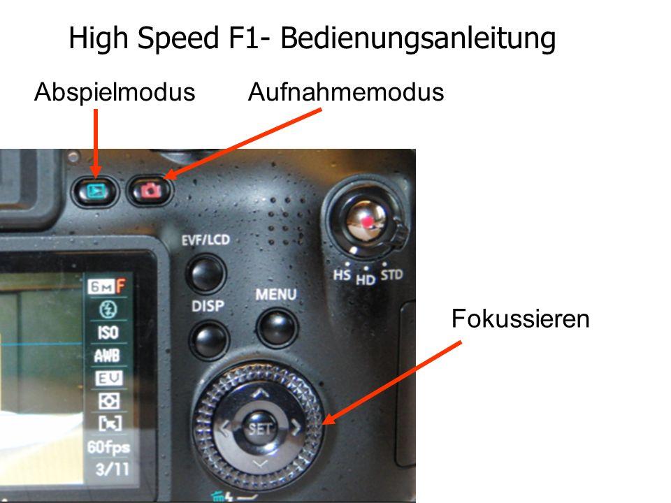 High Speed F1- Bedienungsanleitung Abspielmodus Aufnahmemodus Fokussieren