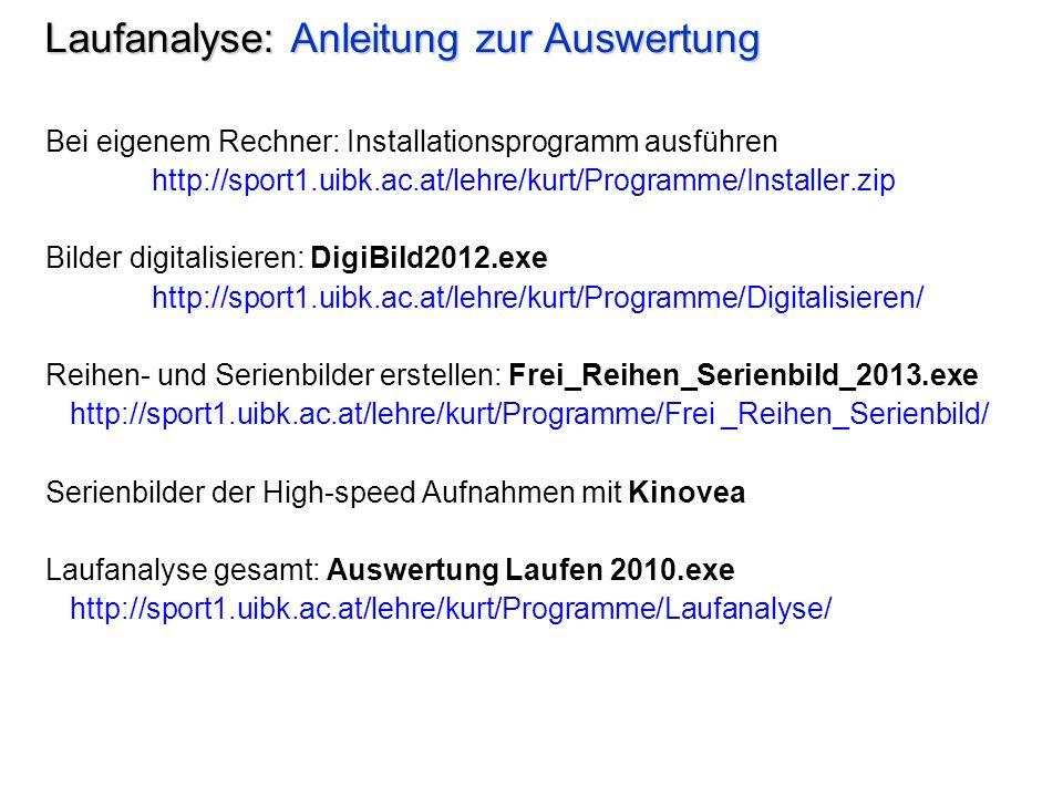 Laufanalyse: Anleitung zur Auswertung Bei eigenem Rechner: Installationsprogramm ausführen http://sport1.uibk.ac.at/lehre/kurt/Programme/Installer.zip Bilder digitalisieren: DigiBild2012.exe http://sport1.uibk.ac.at/lehre/kurt/Programme/Digitalisieren/ Reihen- und Serienbilder erstellen: Frei_Reihen_Serienbild_2013.exe http://sport1.uibk.ac.at/lehre/kurt/Programme/Frei _Reihen_Serienbild/ Serienbilder der High-speed Aufnahmen mit Kinovea Laufanalyse gesamt: Auswertung Laufen 2010.exe http://sport1.uibk.ac.at/lehre/kurt/Programme/Laufanalyse/